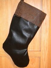 Burton Leather Co Black Dark Brown Faux Tool Country Western Christmas Stocking
