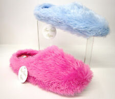 Ladies Four Season Fluffy Mule Slippers Pink And Sky