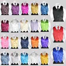 2PC Baby Toddler Kid Boy 23 color Satin Vest + Long Neck Tie for Tuxedo Suit S-7