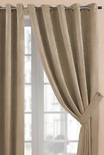 Cream Faux Suede Eyelet / Ring Top Heavy Weight Soft Touch Ready Made Curtains