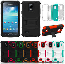 RUGGED TRI-SHIELD SOFT SKIN HARD CASE COVER STAND FOR SAMSUNG GALAXY S4 MINI