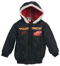 Disney Cars Black Jacket Hooded Light Weight Toddler Boy Size 2T 3T 5 6 Outerwer