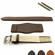 Open Ended Military Mens Genuine Leather Watch Strap Band BUND with Wrist Pad