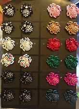 Color-Brushed Metallic And Jeweled Spider Stud Earrings- Choose Your Color