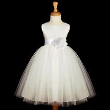 WHITE FLOWER GIRL DRESS PAGEANT TULLE 12-18M 2 4 6 8 10