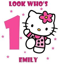 Hello Kitty Birthday T-SHIRT DESIGN DECAL - personalized name & age