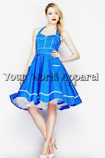 HELL BUNNY VANDA BLUE POLKA DOTS DRESS 4075 PINUP RETRO VINTAGE SWING HOUSEWIFE
