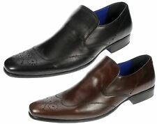 Red Tape Talla Black Brown Leather slip on smart brogue mens shoes
