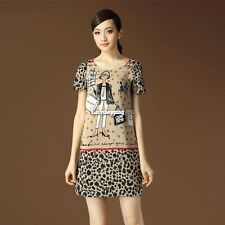 Fashion Anime Shopping Leopard Print Chiffon round neck short sleeve Tops dress