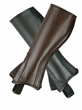 ADULT HALF CHAPS BLACK & BROWN TOP QUALITY FULL GRAIN COWHIDE LEATHER-ALL SIZES