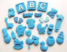 Edible Baby Boy Blue Christening Baby Shower Cup Cake Decorations ABC Toppers