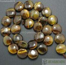 Natural Tiger's Eye Gemstone 10mm 14mm Free Formed Round Coin Loose Beads 15""