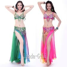 New Belly Dance 2 pics Costume Bra+ Belt Set Outfit US34B-36B-36C-38B-38C-US40D