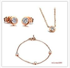Fashion Jewelry Rose Gold Shiny Drill earring bracelet necklace stainless steel