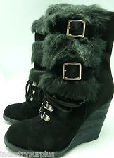 Carlos Santana 'Fabulous' Black Suede Leather W/ Fur Ankle Wedge Boots
