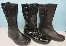 Ladies Casual Boots Easy B By DB Leather Flat Wide Fitting Mid Calf Sydney