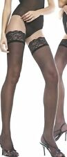 Sheer Lace Top Hold Up Stockings  Black Nude Cuba Heel One Size & Plus Size
