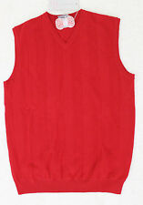 New Ian Poulter Designs Merino Wool Solid Red Sweater Vest Men's S-Large