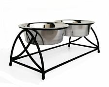 black Butterfly Double Diner raised elevated dog pet food dish & water bowl set
