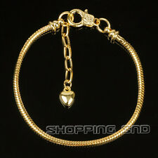 10pcs Gold Plated Lobster Clasp Snake Chain Charm Bracelets Fit European Beads