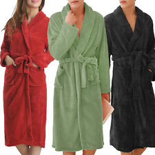 Women Men Fleece Croal  Shawl Collar Long Sleeve Bathrobe Dressing Gown Robe