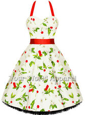 H&R LONDON 0516 CREAM RED CHERRIES BLOSSOMS PINUP SWING DRESS VINTAGE ROCKABILLY