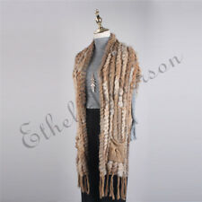 New 100% Real Knitted Rabbit Fur Scarf Shawl Cape Wrap Stole Poncho Sweater Coat