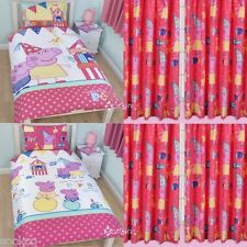 Peppa Pig Funfair Single Duvet and Matching Curtains Bedding Set New Gift