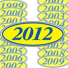Blue And Yellow Oval Year Stickers