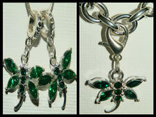 EUROPEAN OR LOBSTER CLASP CLIP ON STYLE GREEN CRYSTAL DRAGONFLY DANGLE CHARMS