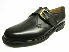 Mens Geox Black Leather Slip On Formal Shoes with Buckle UK 7 G403