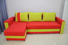'RITA' CORNER  SOFA BED  DRAWER IN THE ARM, LOTS OF COLOURS! SPRINGS INSIDE