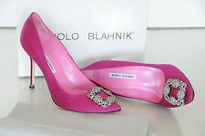 $945 NEW MANOLO BLAHNIK HANGISI Pink Raspberry  JEWELED Pumps SHOES 41.5 41 40.5