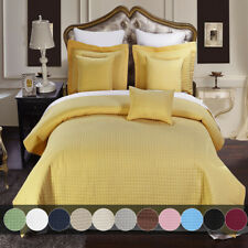 Luxury Checkered Wrinkle Free Quilted Coverlet, Reversible Bedspread & Shams Set