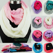 Fashion 2-Tone Crinkle Infinity Loop Cowl Eternity Circle Endless Scarf Wrap