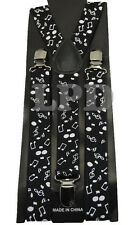 Black Suspenders Music Notes Braces  Adjustable Fashion Suspenders Motif Design