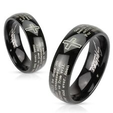 316L Stainless Steel Black IP Lord's Prayer & Cross Comfort Fit Ring Sz 5-13