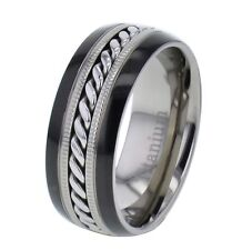 8mm Shinny Top Two Tones Titanium Cable Inlay Men's Wedding Band Ring