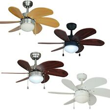 30 Inch Ceiling Fan with Light Kit - Satin Nickel, Oil Rubbed Bronze or White