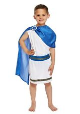 CAESAR BOY ROMAN EMPEROR BLUE AND WHITE TOGA COSTUME OUTFIT FANCY DRESS