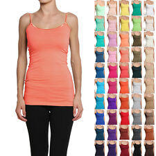 MOGAN Long Basic Sphagetti Strap CAMI TANK TOP Layering Plain All Colors S-L