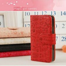 Cute Magic Girl Flip PU Leather Pouch Case Cover For Samsung  Mobile Phones