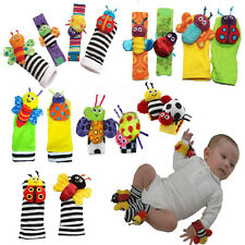 Infant Baby Kid Wrist Watch Bands & Foot Socks Rattle Hand Foot Finder Plush Toy