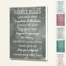 Family Rules - Wall Quote Sign Saying Box Canvas Fabric Print - 6 Colours