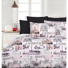 Old London Quilt Doona Cover Set - Single Double Queen King Big Ben Union Jack