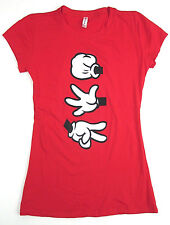 Rock Paper Scissors MICKEY MOUSE Hands T-shirt Womens JUNIORS S,M,L,XL Red New