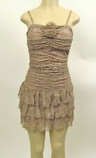 Nwt Womens Sexy Summer Lace Smocked Cocktail Casual Mini Dress Light Brown