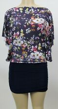 New Womens Kimono Sleeve Tunic Floral Print Mini Dress Casual Top Sz S M L