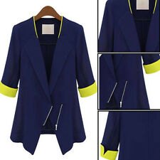 Womens Chiffon Suit Jacket Blazer Casual OL Business Outerwear BLUE Thin Coat
