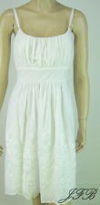 Connected White Cotton Sundress with Satin Stitching on Skirt New 7836
